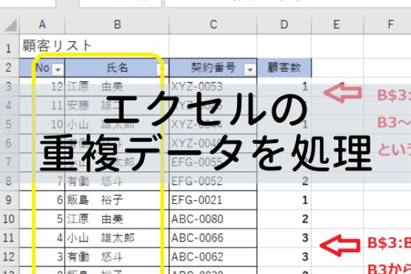 エクセルの重複データを関数で確認